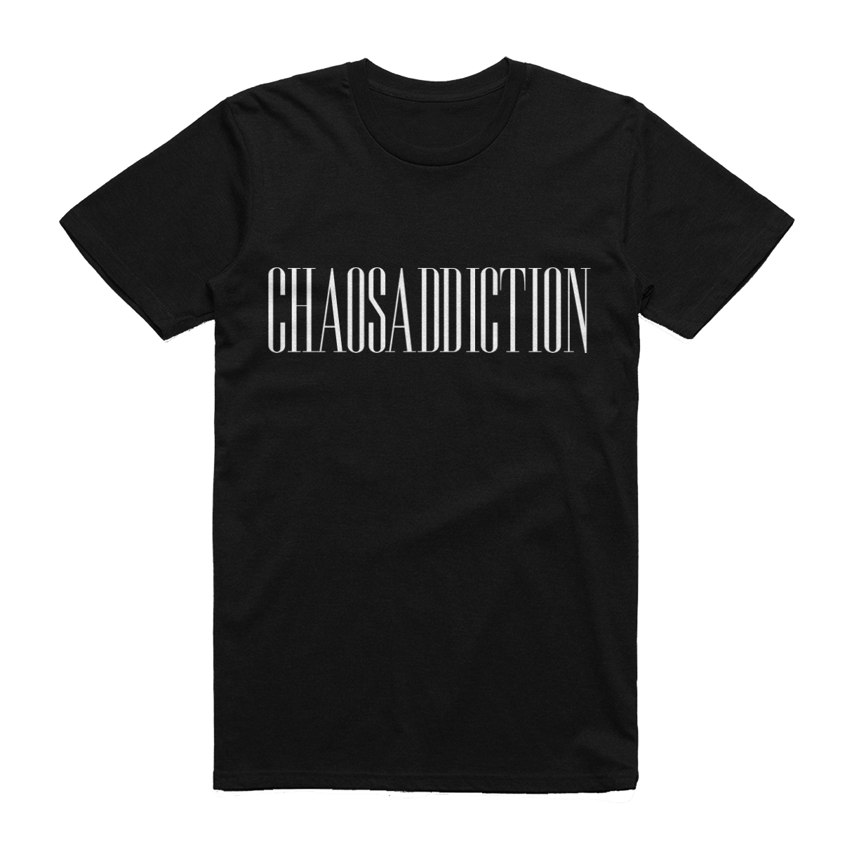 chaosaddiction logo black tshirt merch